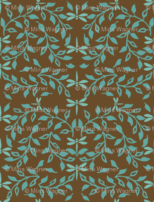 Leafy Field Arts & Crafts style fabric - bluegreen & brown with dragonflies