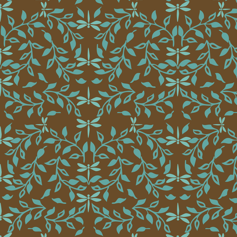 Leafy Field Arts & Crafts style fabric - bluegreen & brown with dragonflies fabric by mina on Spoonflower - custom fabric