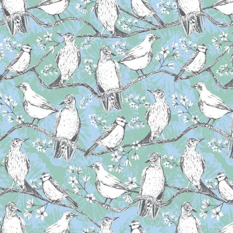 Birdies light fabric by kezia on Spoonflower - custom fabric