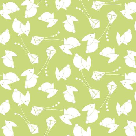 little green kite fabric by happy_to_see on Spoonflower - custom fabric