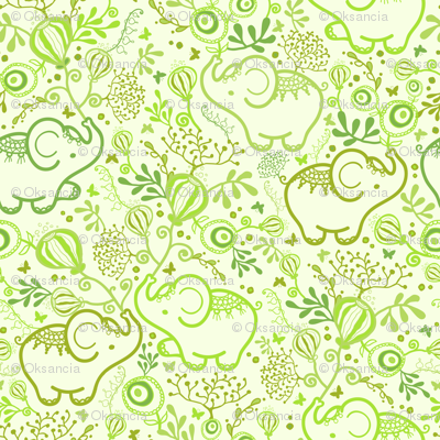 Green Elephants With Bouquets