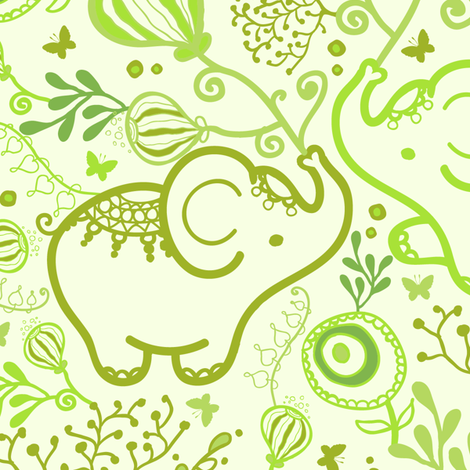 Green Elephants With Bouquets fabric by oksancia on Spoonflower - custom fabric