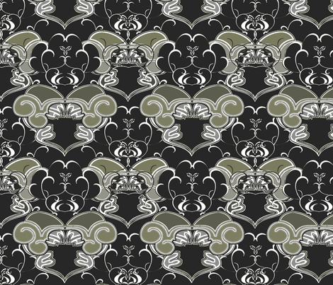 Victorian Damask Blossoms coordinate fabric by joanmclemore on Spoonflower - custom fabric