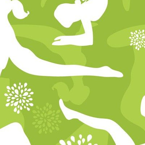 Green Yoga Poses Silhouettes