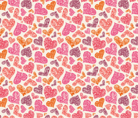 Floral Hearts fabric by oksancia on Spoonflower - custom fabric