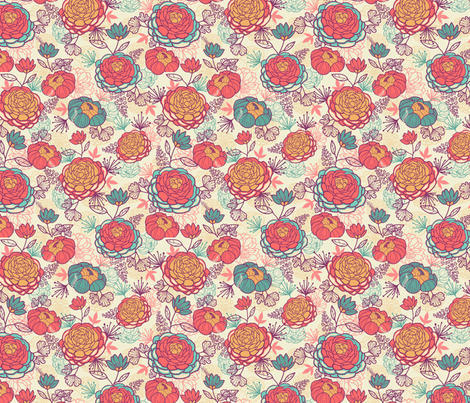 Lovely Peonies fabric by oksancia on Spoonflower - custom fabric