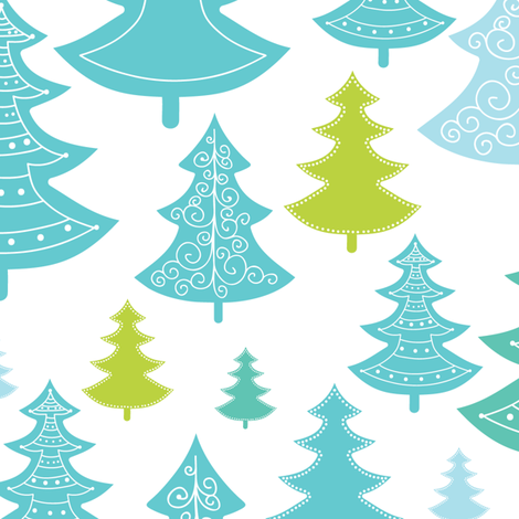 Decorative Christmass Trees fabric by oksancia on Spoonflower - custom fabric