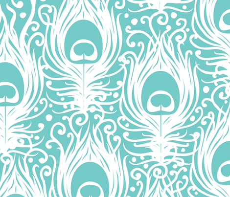 Soft Peacock Feathers fabric by oksancia on Spoonflower - custom fabric