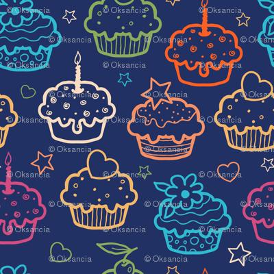 Cupcakes On Dark Blue