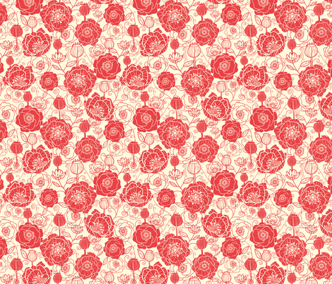 Poppies Silhouettes fabric by oksancia on Spoonflower - custom fabric