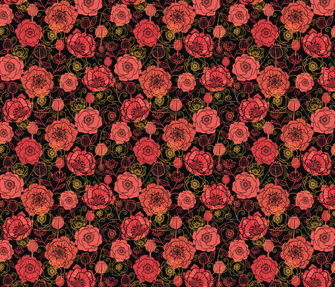 Red Poppies On Black fabric by oksancia on Spoonflower - custom fabric