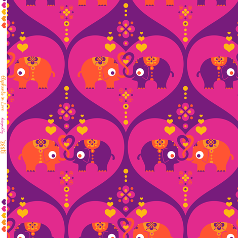 Elephants in Love Purple fabric by zesti on Spoonflower - custom fabric