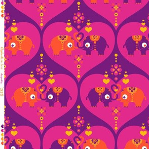 Elephants in Love Purple