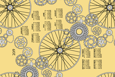 Beautiful bicycle parts 2019 tea towel calendar fabric by victorialasher on Spoonflower - custom fabric