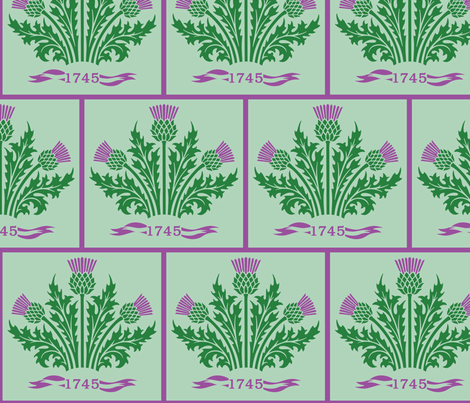 Jacobite Thistle, light green bg fabric by rengal on Spoonflower - custom fabric