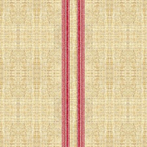 Faux Grain sack Red Ticking