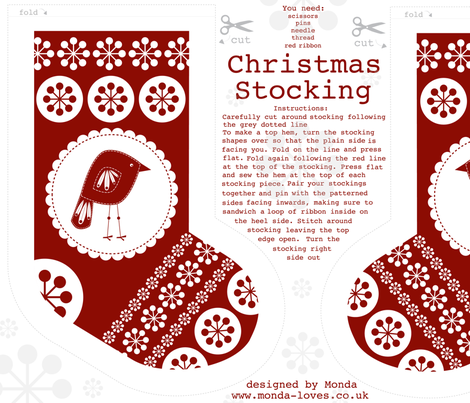 Christmas Stocking with Birdy fabric by mondaland on Spoonflower - custom fabric