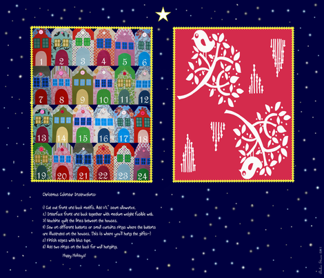 Amsterdam Houses X-mas Calendar fabric by gittethomsen on Spoonflower - custom fabric