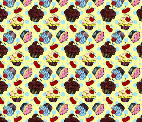 Little Cup Cakes fabric by mystikel on Spoonflower - custom fabric