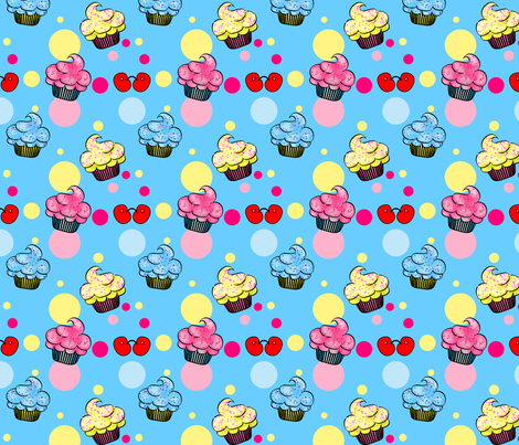 Little CupCakes- Blue fabric by mystikel on Spoonflower - custom fabric