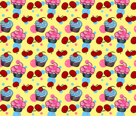 Little Cup Cakes-Lemon Cherry fabric by mystikel on Spoonflower - custom fabric