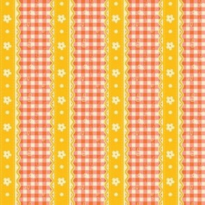 Peachy Spring Gingham & Lace