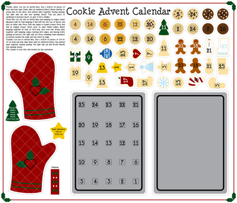 Cookie Advent Calendar fabric by modgeek on Spoonflower - custom fabric