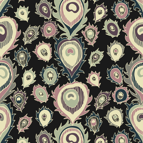 Art Deco Feathers fabric by teja_jamilla on Spoonflower - custom fabric