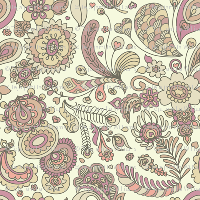 Henna Feather Paisley Wallpaper Teja Jamilla Spoonflower