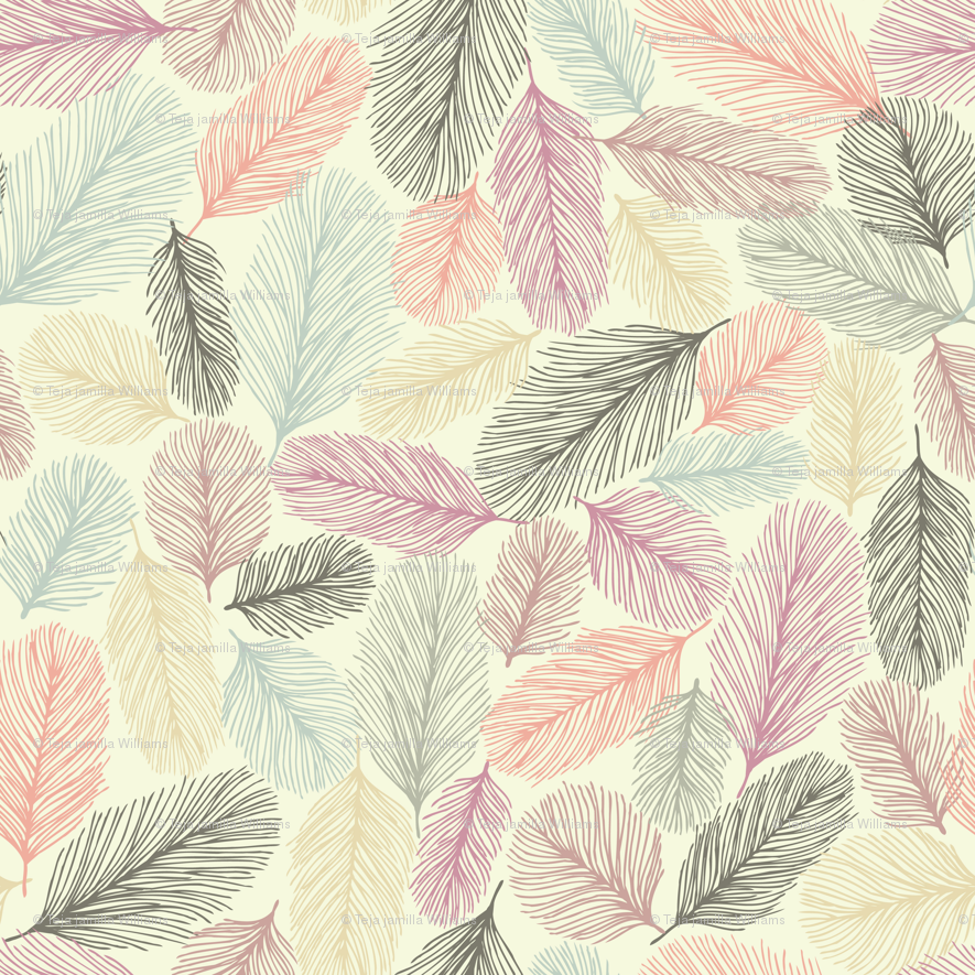 Illustrated Feathers Wallpaper