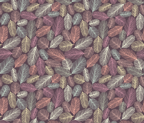 Illustrated Feathers 2 fabric by teja_jamilla on Spoonflower - custom fabric