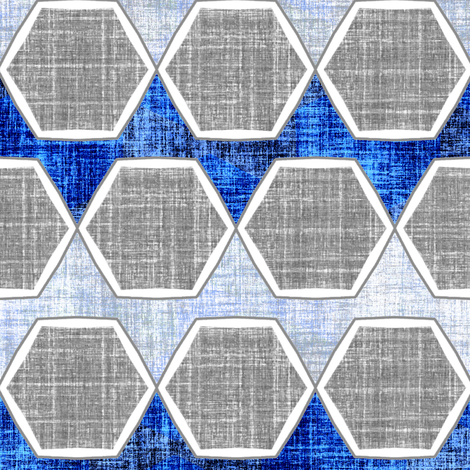 Modern faux linen hexagon in blue and gray fabric by joanmclemore on Spoonflower - custom fabric