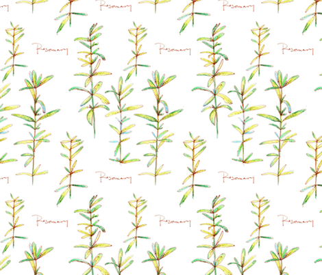 Rosemary in White fabric by countrygarden on Spoonflower - custom fabric