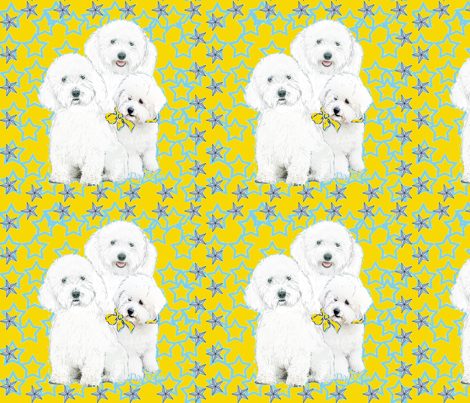 BICHONS WITH BLUE STARS fabric by dogdaze_ on Spoonflower - custom fabric
