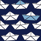 boat paper blue white origami doll fabric