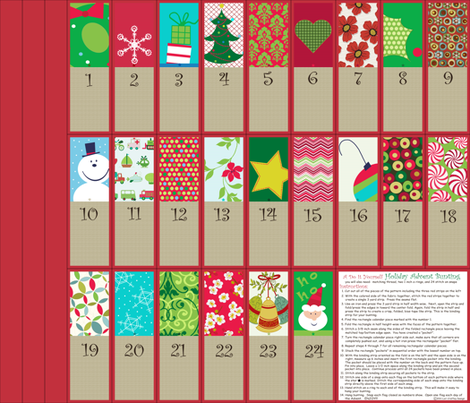 A Holiday Advent Calendar Bunting fabric ...