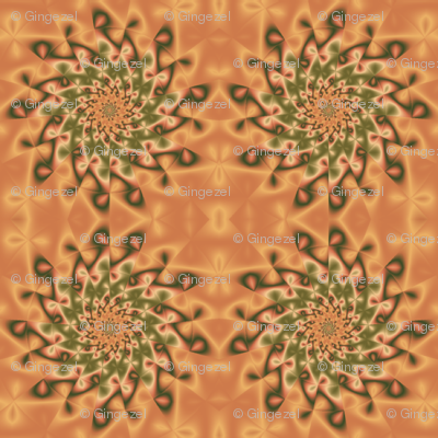 Green Pinwheel on Orange © Gingezel 2011