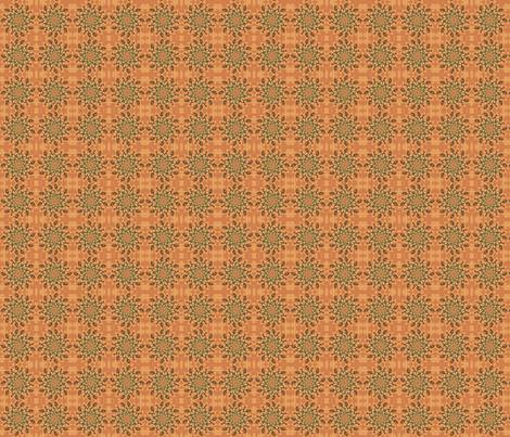 Green Pinwheel on Orange © Gingezel 2011 fabric by gingezel on Spoonflower - custom fabric
