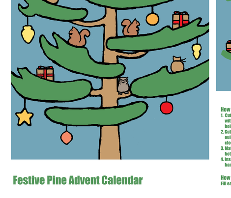 Festive Pine Advent Calendar fabric by doodleandhoob on Spoonflower - custom fabric