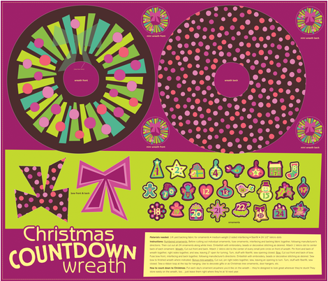 Christmas Countdown Wreath fabric by jennartdesigns on Spoonflower - custom fabric
