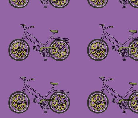 purple bike fabric by luluhoo on Spoonflower - custom fabric
