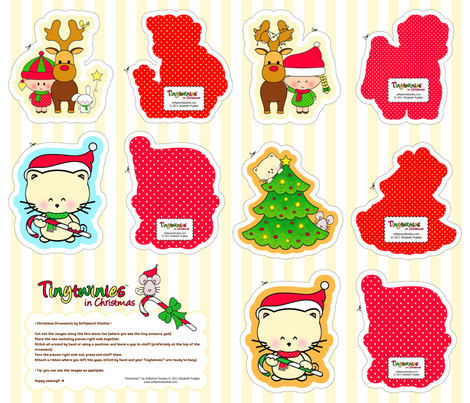 Tinytwinies in Christmas fabric by softpencil_studios on Spoonflower - custom fabric
