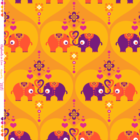 Elephants in Love Saffron fabric by zesti on Spoonflower - custom fabric