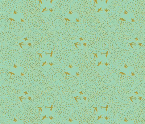 dotty leaves & flying birds fabric by bethan_janine on Spoonflower - custom fabric