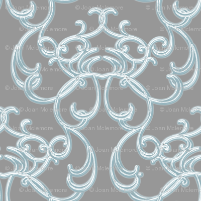Damask Blue on Gray