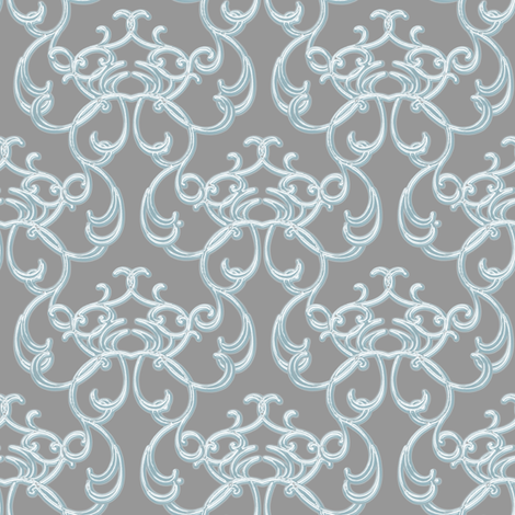 Damask Blue on Gray fabric by joanmclemore on Spoonflower - custom fabric