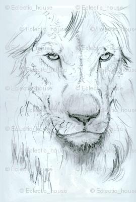 Lion portrait monochrome