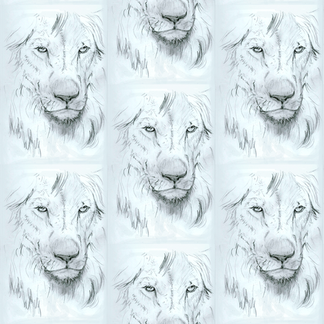Lion portrait monochrome fabric by eclectic_house on Spoonflower - custom fabric