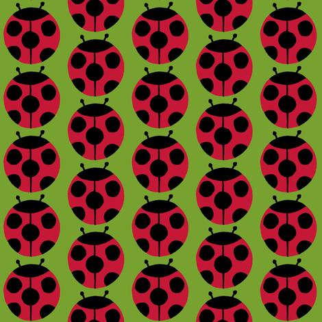 ladybugs green fabric by celebrindal on Spoonflower - custom fabric