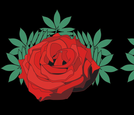 Red Rose On Black fabric by moonduster on Spoonflower - custom fabric